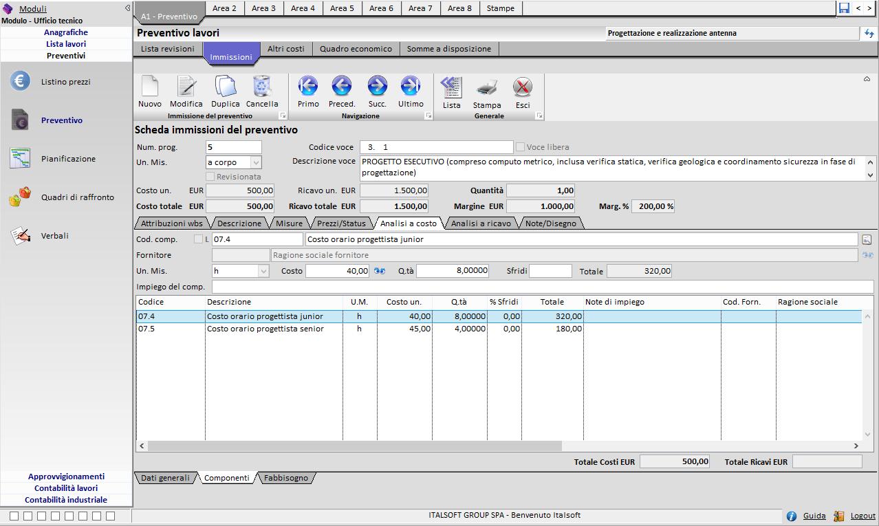 software gestionale per professionisti - Preventivo lavori