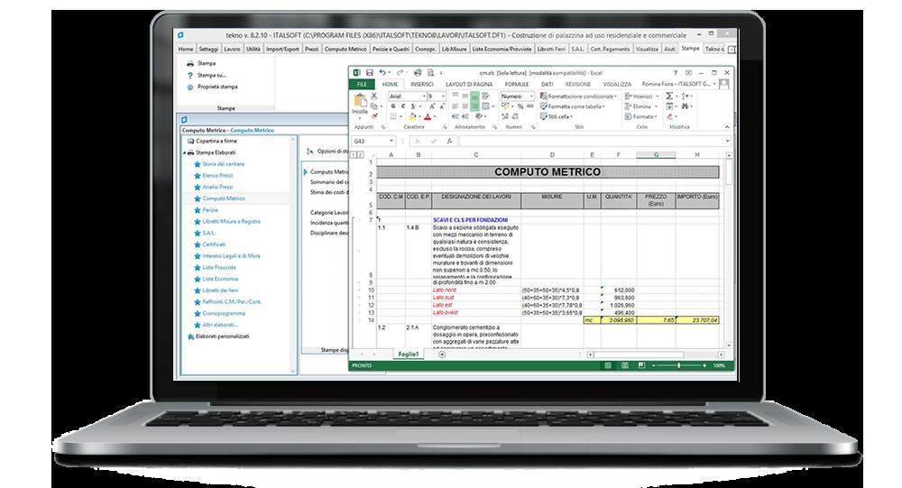 software computo metrico tekno: esportazione excel
