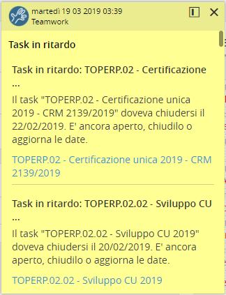 Notifica software per gestione commesse